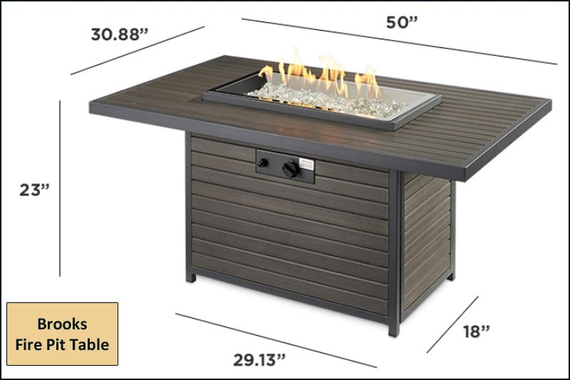 Brooks Fire Pit Table Dimensions